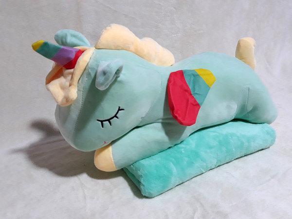 Плед - мягкая игрушка 3 в 1 (Единорог мятный)