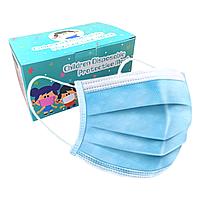 Детская медицинская маска - 3х слойная (прослойка мельтблаун) голубая