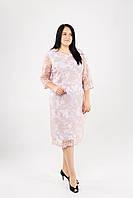Элегантное гипюровое платье ниже колен в супер больших размерах