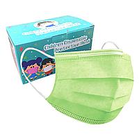 Детская медицинская маска - 3х слойная (прослойка мельтблаун) зеленая
