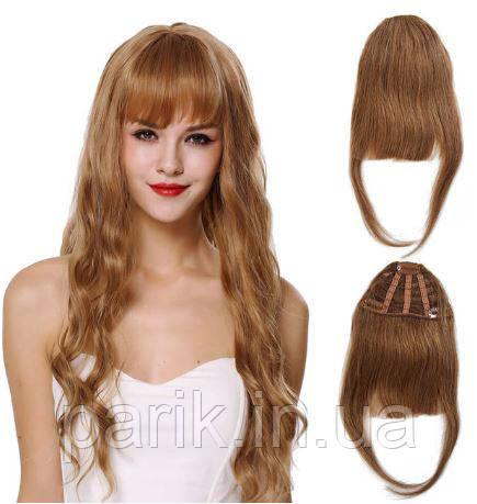 Накладная челка из натуральных волос коричневая (русого оттенка), натуральная чёлка на заколках