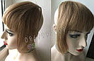 Накладная челка из натуральных волос коричневая (русого оттенка), натуральная чёлка на заколках, фото 2