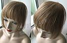 Накладная челка из натуральных волос коричневая (русого оттенка), натуральная чёлка на заколках, фото 3