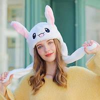 Шапка белая заяц с двигающимися ушами живая, светящаяся, зверошапка