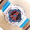Необычные спортивные наручные часы Casio GA-110 White/Blue/Red 631