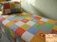 Детские покрывала хлопковое 180х220 GoldenTex JY-617, разноцветные квадраты.