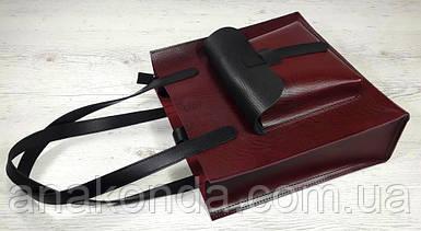 162-1 Натуральная кожа Формат А4+ Женская сумка бордовая на плечо кожаная натуральная Размер А-4 сумка