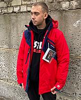 Термокуртка парка красная зимняя теплая мужская Raidpoint