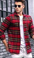 Рубашка в клетку байковая очень теплая (Турция) красная - S, XL