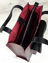 162-1 Натуральная кожа Формат А4+ Женская сумка бордовая на плечо кожаная натуральная Размер А-4 сумка, фото 2