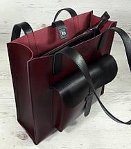 162-1 Натуральная кожа Формат А4+ Женская сумка бордовая на плечо кожаная натуральная Размер А-4 сумка, фото 3