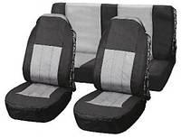 Комплект чехлов на сиденья, передние и задние, оплетка на руль + чехлы ремня безопастности, черные-серые, Vitol