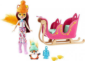 Enchantimals Рождественские сани Лисички Фелисити Snowtastic Sled Set with Felicity Fox Doll Mattel GJX31