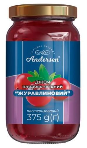 """Джем плодово-ягодный """"Клюквенный"""" ТМ """"Andersen"""" 375 г."""