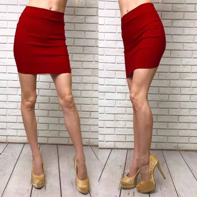 женская трикотажная юбка мини