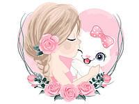 Детская картина-раскраска по номерам Девочка с котенком 40х30 см, BrushMe (MEX7116)