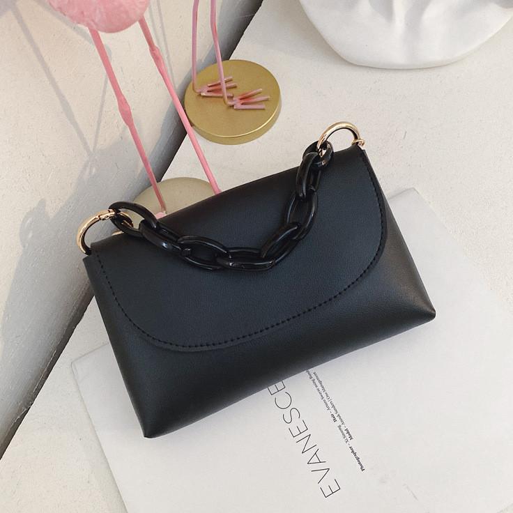 Женская маленькая сумочка на длинном ремешке, Черный клатч из кожзама, Мини сумочка FS-3713-10