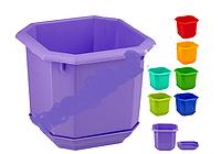Горшок для цветов кашпо восьмигранный с подставкой 9,5x9,5см (12x12см наружный размер)