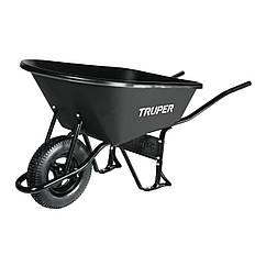 Тачка садова Truper з посиленою пневматичною шиною 16 ND і пластиковим коритом, 120 літрів CAT-60, КОД:
