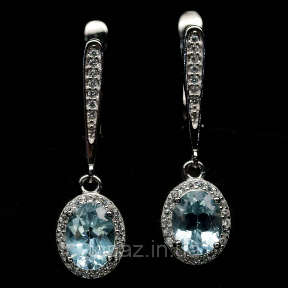 Серьги серебряные 925 натуральный голубой топаз (SKY TOPAZ), цирконий.