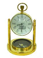 Часы латунные с компасом в увеличительном стекле, 2 вида (чл-19)