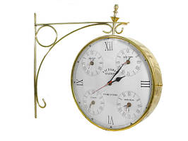 Часы латунные станционные золотые с мировым временем (чл-22)