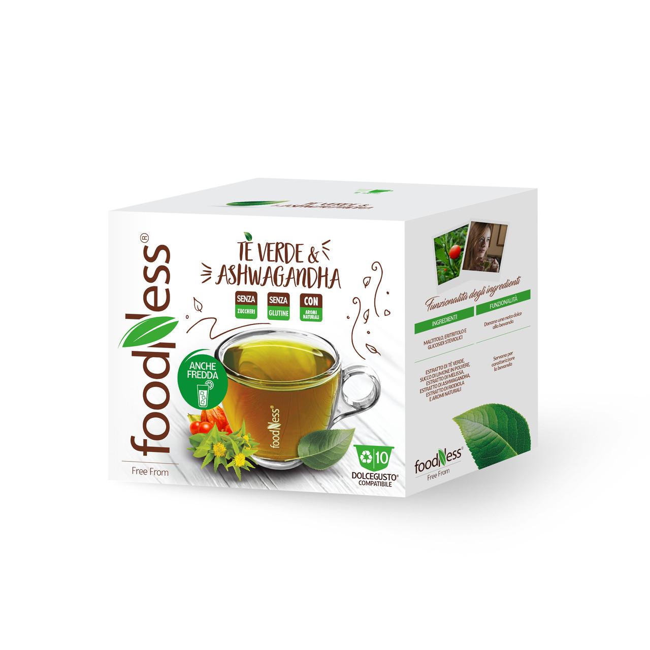 Чай в капсулах FoodNess Dolce Gusto Green Tea & Ashwagandha 10 шт. (Фуднес Дольче Густо), Италия
