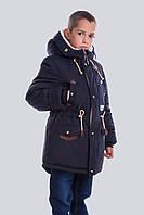 Зимняя куртка-парка Чарли на мальчика 128-158 р серая,синяя.