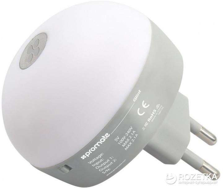 Адаптер с двумя USB портами и встроенным LED-осветителем Glint