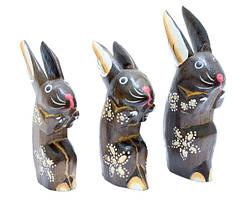 Набор: зайчик присел, ручки к подбородку прижал, 3 цвета (з-29, з-30, з-31)