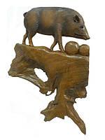 Панно тиковое: кабан, 3 вида (пт-121)