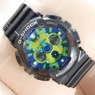 Модные спортивные наручные часы Casio GA-120 Black/Blue/Light green 638