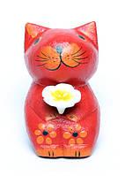 Маленький котик с цветочком в руках, 4 цвета (кн-43)