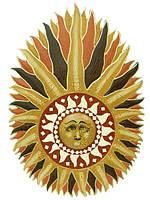 Солнышко с лучиками и ликом с зеркалами (си-87)