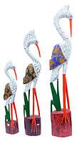 Набор аистов с хохолком, белый крекинг с батиком (пт-70, пт-71, пт-72)