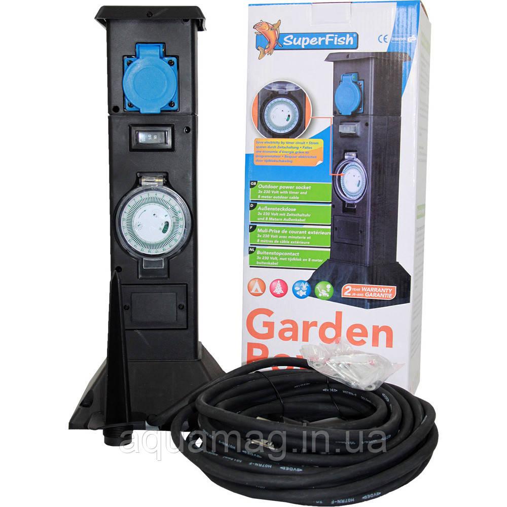 Розетка SuperFish Garden Power с таймером для пруда, сада, водоёма, уличная гирлянды