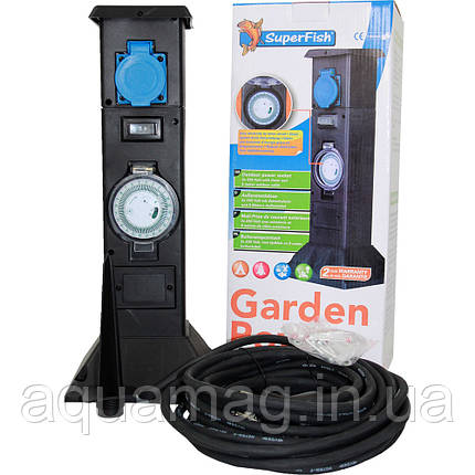 Розетка SuperFish Garden Power с таймером для пруда, сада, водоёма, уличная гирлянды, фото 2