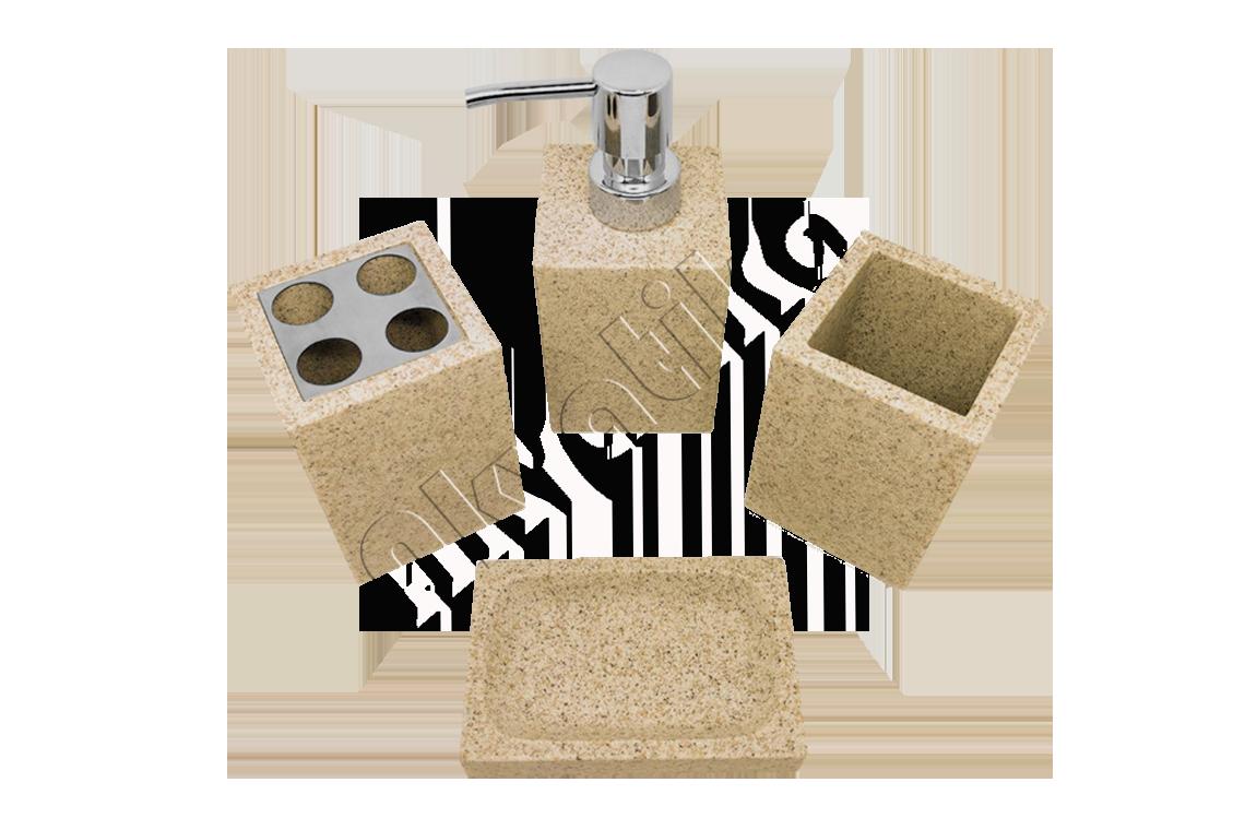 Аксессуары для ванной комнаты каменные белый,черный,бежевый набор гранит