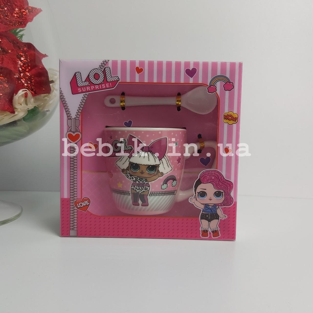 Подарочный набор чашка с ложечкой LOL для девочек