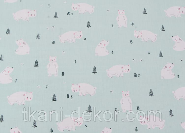 Сатин (хлопковая ткань) на мяте мишки и елки (55*160)