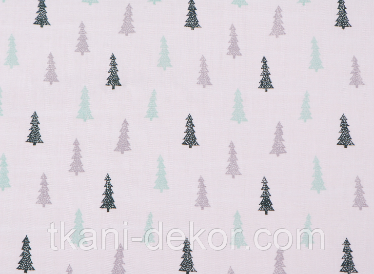 Сатин (хлопковая ткань) серо-мятные мелкие елки (30*160)