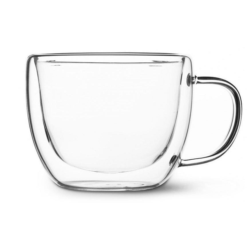 Кружка чашка с двойным дном Капучино 105 термо с двойными стенками стеклянная 350 мл