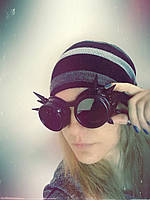 Очки Гогглы в стиле стимпанк / паропанк. Цвет: черный.