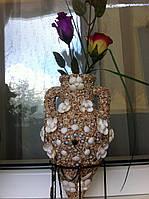 Декупаж вазы природным материалом  ракушками