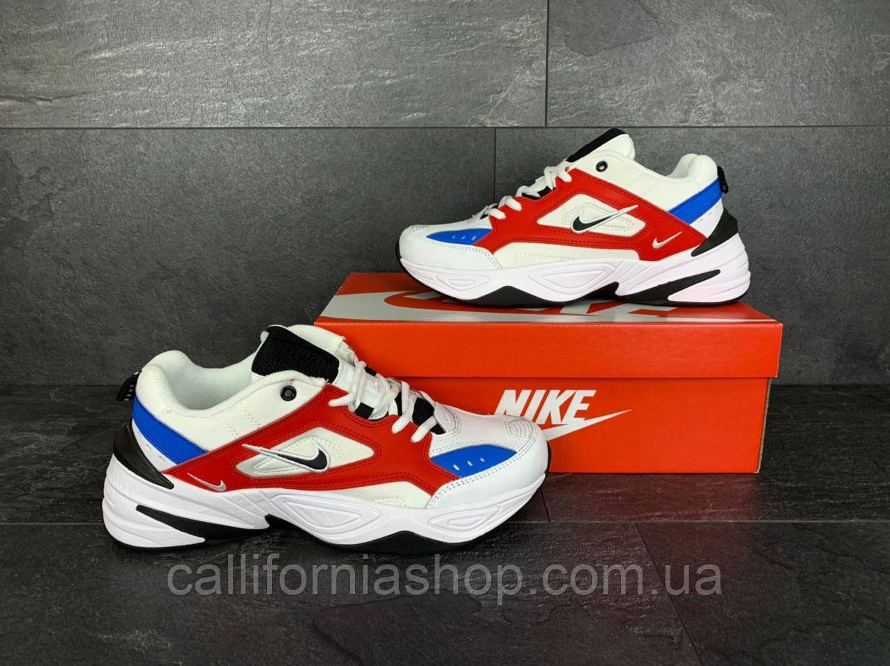 Кроссовки мужские Nike M2K Tekno цвет белый с красный и синим демисезонные