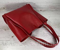 156 Натуральная кожа, Сумка женская шоппер красная красная Кожаная натуральная сумка женская на плечо красная, фото 2