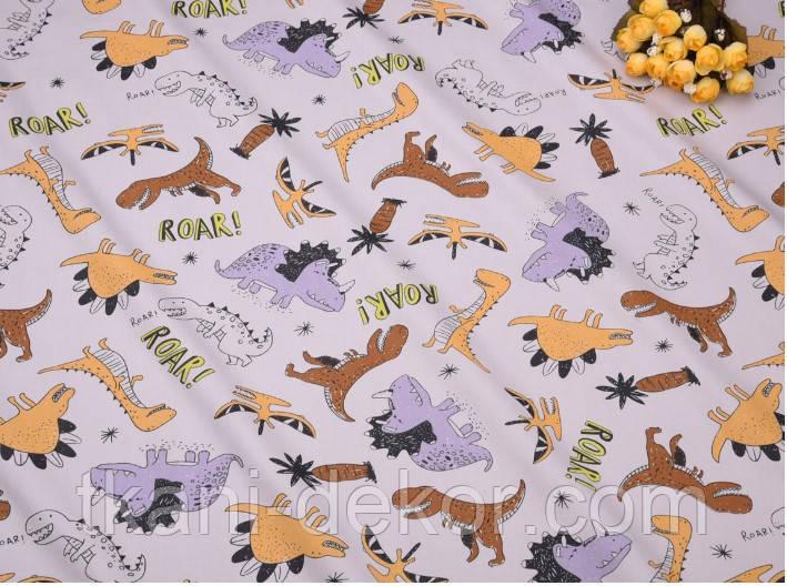 Сатин (хлопковая ткань) Динозавры и бронтозавры на сером (25*160)