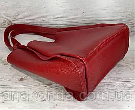 156 Натуральная кожа, Сумка женская шоппер красная красная Кожаная натуральная сумка женская на плечо красная, фото 3