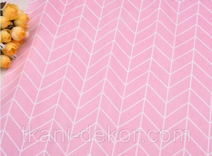 Сатин (хлопковая ткань) геометрия средняя розовая (40*160)