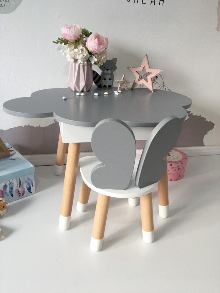 Детский стол облако с пеналом и 1 стул бабочка